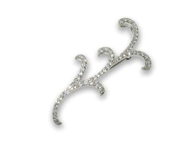 CZ Collections PIN1042 Sterling Silver Outline Shape Pin