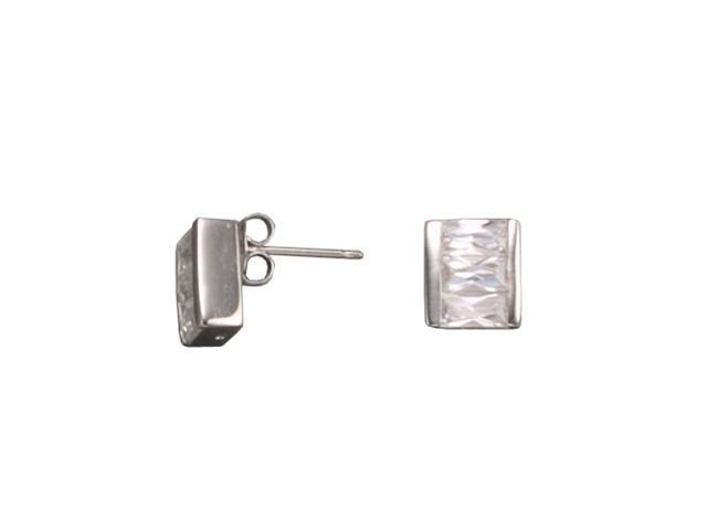CZ EAR879 C.Z. SQUARE RHODIUM PLATED - .925 - STERLING SILVER EARRINGS