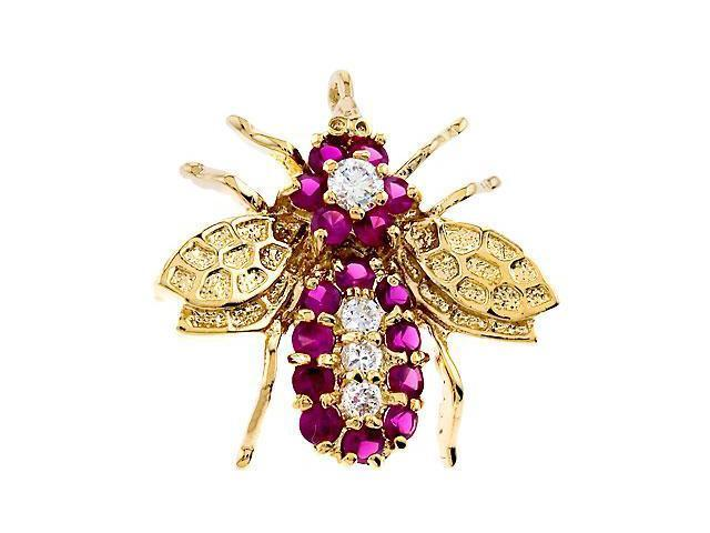 CZ PIN892 Ruby 18K Gold Over 925 Sterling Silver Pin Brooch