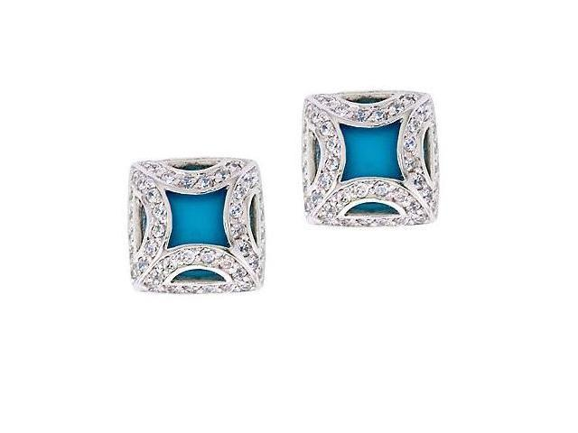 CZ EAR824-T Fancy Frame Simulated Turquoise Silver Square Stud Earrings