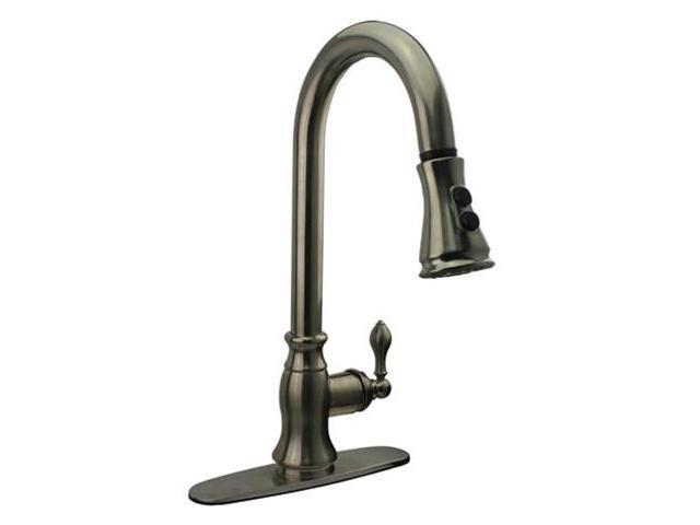 Kingston Brass GS7778ACL Gourmetier American Classic Single Handle Faucet with Pull Down Spout, Satin Nickel