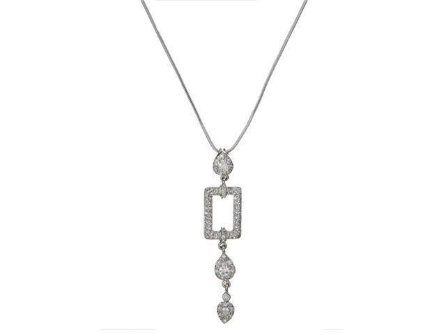 CZ NEC1433 Designer Style Geometric C.Z. Diamond Cable Drop Necklace