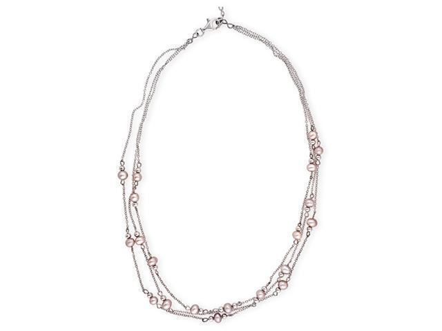 CZ NEC2006 Lovely Faux Pink Pearl .925 Sterling Silver Triple Strand Necklace