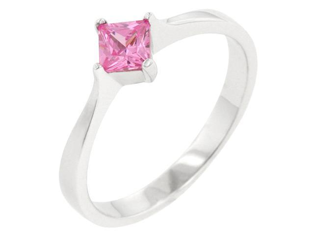 Kate Bissett R08121RS-S12-06 .925 Sterling Silver Engagement Ring with a Princess Cut Pink Ice CZ in a Prong Setting in Silvertone- Size 6