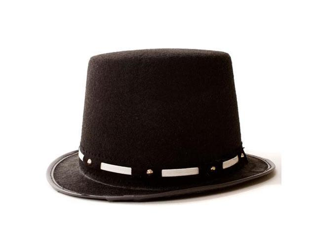 Dress Up America 464-S Tuxedo Top Hat with Silver Trim - Size Adult