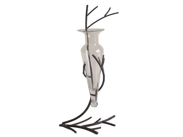 Danya B Twig Metal Stand With Glass Vase Clear