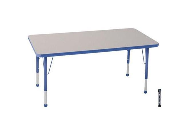 Early Childhood Resource ELR-14110-GBL-C 30 in. x 48 in. Gray Rectangular Adjustable Activity Table with Blue Chunky Leg