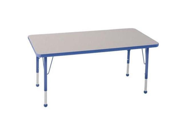 Early Childhood Resource ELR-14110-GBL-SB 30 in. x 48 in. Gray Rectangular Adjustable Activity Table with Blue Edge and Blue Standard Leg Ball Glides