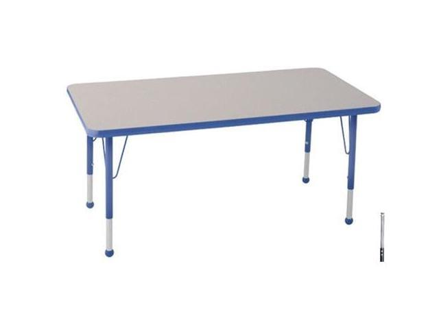 Early Childhood Resource ELR-14110-GBL-SS 30 in. x 48 in. Gray Rectangular Adjustable Activity Table with Blue Edge and Blue Standard Leg Nylon Swivel Glides
