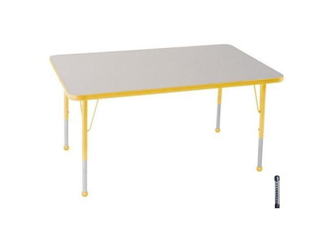 Early Childhood Resource ELR-14110-GYE-C 30 in. x 48 in. Gray Rectangular Adjustable Activity Table with Yellow Chunky Leg