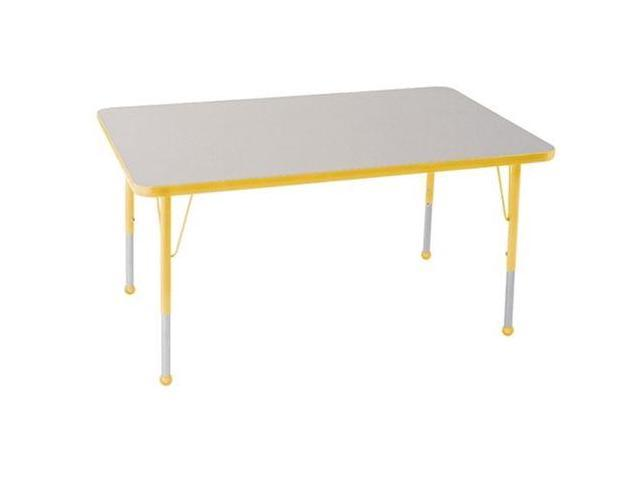 Early Childhood Resource ELR-14110-GYE-SB 30 in. x 48 in. Gray Rectangular Adjustable Activity Table with Yellow Edge and Yellow Standard Leg Ball Glides