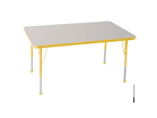 Early Childhood Resource ELR-14110-GYE-SS 30 in. x 48 in. Gray Rectangular Adjustable Activity Table with Yellow Edge and Yellow Standard Leg Nylon Swivel Glides