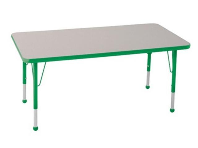 Early Childhood Resource ELR-14110-GGN-TB 30 in. x 48 in. Gray Rectangular Adjustable Activity Table with Green Edge and Green Toddler Leg Ball Glides