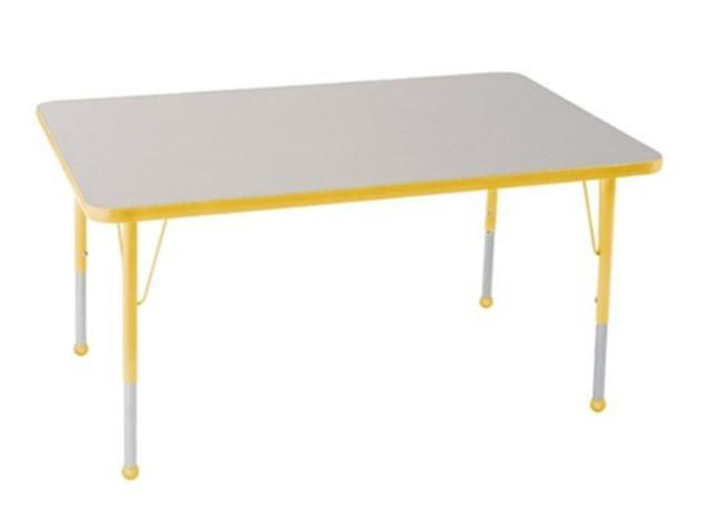 Early Childhood Resource ELR-14110-GYE-TB 30 in. x 48 in. Gray Rectangular Adjustable Activity Table with Yellow Edge and Yellow Toddler Leg Ball Glides
