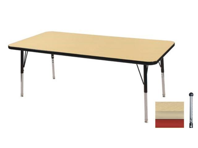 Early Childhood Resource ELR-14110-MMRD-TB 30 in. x 48 in. Maple Rectangular Adjustable Activity Table with Maple Edge and Red Toddler Leg Ball Glides