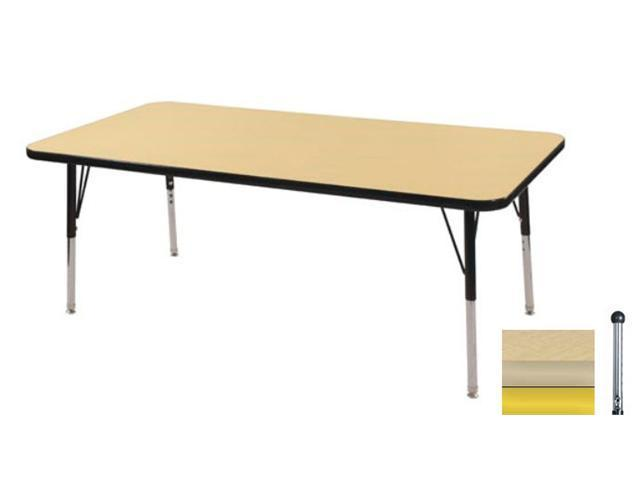 Early Childhood Resource ELR-14110-MMYE-TB 30 in. x 48 in. Maple Rectangular Adjustable Activity Table with Maple Edge and Yellow Toddler Leg Ball Glides