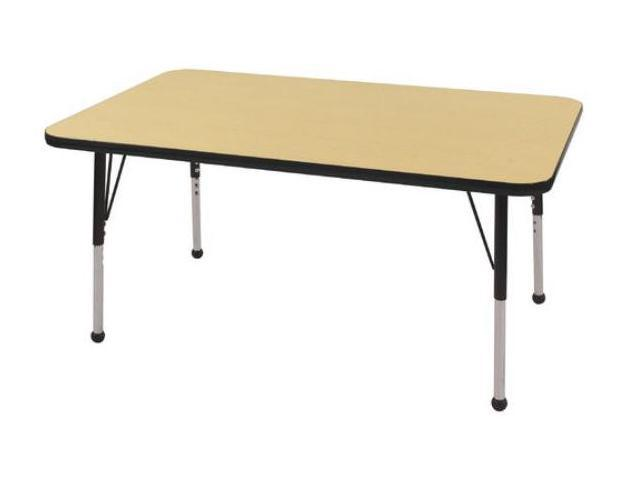 Early Childhood Resource ELR-14110-MBBK-TB 30 in. x 48 in. Maple Rectangular Adjustable Activity Table with Black Edge and Black Toddler Leg Ball Glides
