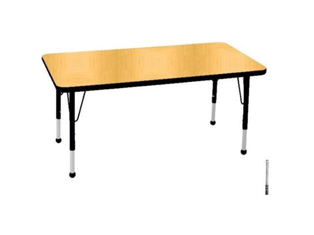 Early Childhood Resource ELR-14110-MBBK-TS 30 in. x 48 in. Maple Rectangular Adjustable Activity Table with Black Edge and Black Toddler Legs Nylon Swivel Glides