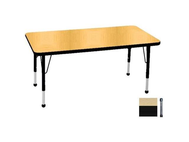 Early Childhood Resource ELR-14110-MMBK-C 30 in. x 48 in. Maple Rectangular Adjustable Activity Table with Black Chunky Leg