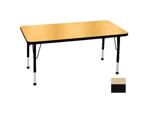 Early Childhood Resource ELR-14110-MMBK-SB 30 in. x 48 in. Maple Rectangular Adjustable Activity Table with Maple Edge and Black Standard Leg Ball Glides