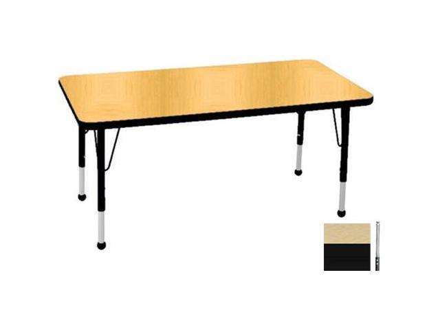 Early Childhood Resource ELR-14110-MMBK-SS 30 in. x 48 in. Maple Rectangular Adjustable Activity Table with Maple Edge and Black Standard Leg Nylon Swivel Glides