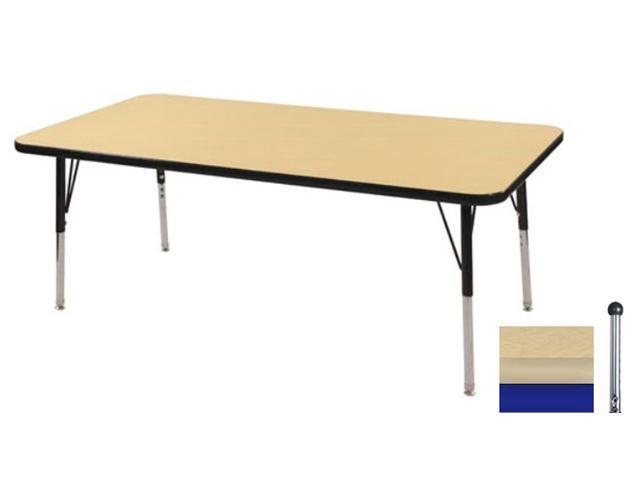 Early Childhood Resource ELR-14110-MMBL-SB 30 in. x 48 in. Maple Rectangular Adjustable Activity Table with Maple Edge and Blue Standard Leg Ball Glides