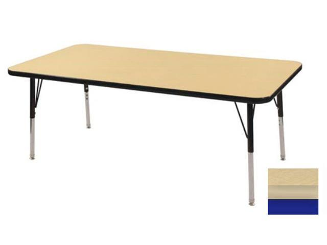 Early Childhood Resource ELR-14110-MMBL-TS 30 in. x 48 in. Maple Rectangular Adjustable Activity Table with Maple Edge and Blue Toddler Legs Nylon Swivel Glides