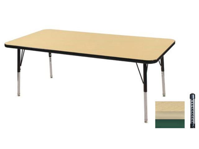 Early Childhood Resource ELR-14110-MMGN-C 30 in. x 48 in. Maple Rectangular Adjustable Activity Table with Green Chunky Leg