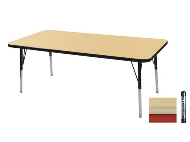Early Childhood Resource ELR-14110-MMRD-C 30 in. x 48 in. Maple Rectangular Adjustable Activity Table with Red Chunky Leg