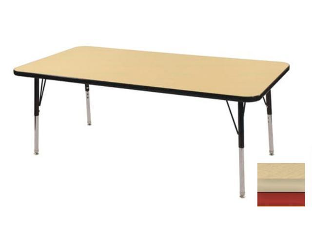 Early Childhood Resource ELR-14110-MMRD-SS 30 in. x 48 in. Maple Rectangular Adjustable Activity Table with Maple Edge and Red Standard Leg Nylon Swivel Glides