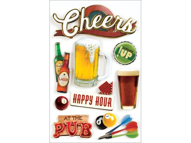Paper House 494367 Beer 3-D Stickers-Cheers