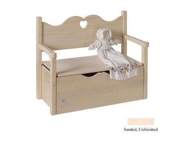 Little Colorado 017UNFHT Bench Toy Box - Unfinished-Heart