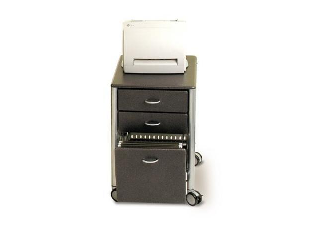 Three Drawer Mobile File Cabinet in Granite Black Finish by Innovex