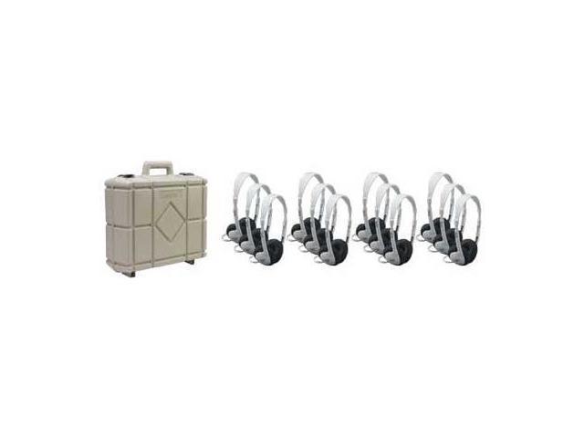 Califone International 3060AV-12 Set Of Twelve Multimedia Stereo Headphones With Carry Case
