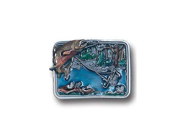 Siskiyou Gifts P146E Belt Buckle- Fishing in River