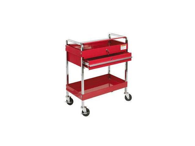 Sunex Tools 8013A Red Service Cart With Locking Lid and Drawer