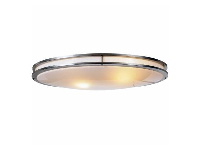 Quality Home Items 614011 Indoor Fluorescent Oval Ceiling Fixture, Brushed Chrome