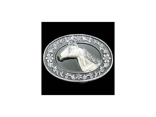 Siskiyou SportsA4000D Pewter Belt Buckle- Horse Head -Diamond Cut