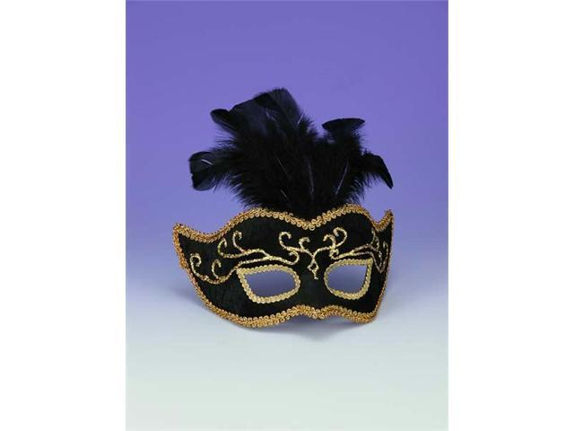 Costumes For All Occasions Fm57189 Half Style Mask Bk W Gold Trim