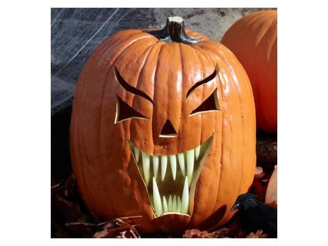 Pumpkin Teeth 211996 Glow in the Dark Fang Pumpkin Teeth - 18 count