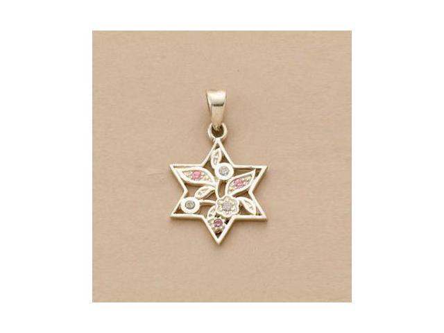 Rite Lite JSN-604-PK Sterling Silver Star of David Pendant - Pink CZ
