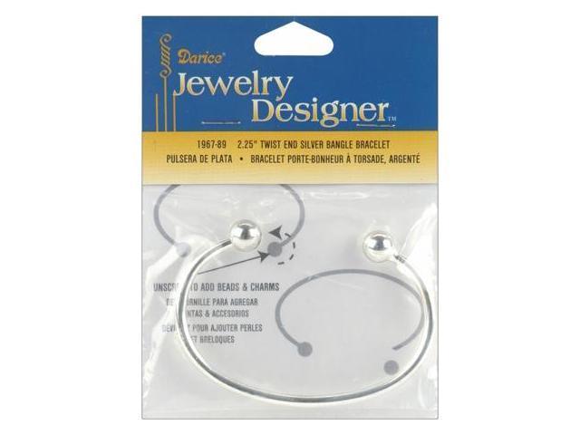 Twist End Silver Bangle Bracelet 1/Pkg-2-1/4