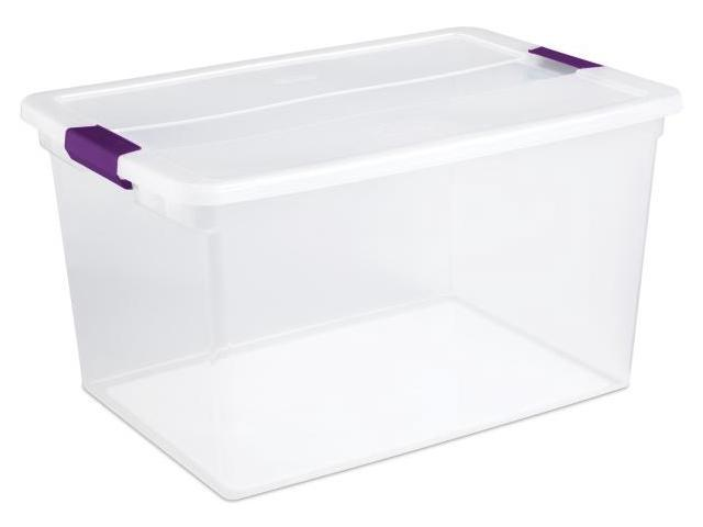 Sterilite 66 Quart ClearView Latch Storage Container With Sweet Plum Handles 17 - Pack of 6