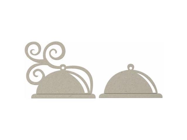 Die-Cut Grey Chipboard Embellishments-Plate Cover 2/Pkg-3.25