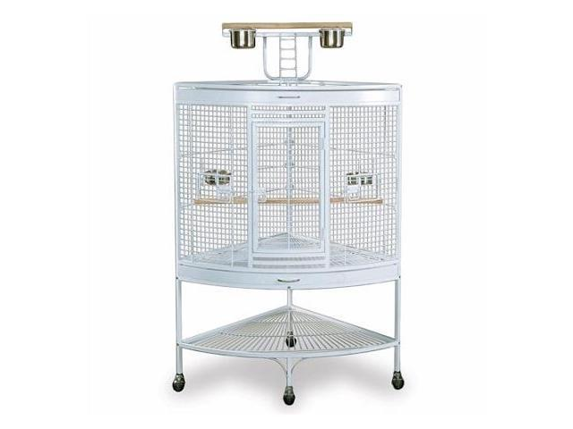 Prevue Hendryx PP-3156W White Corner Parrot Cage