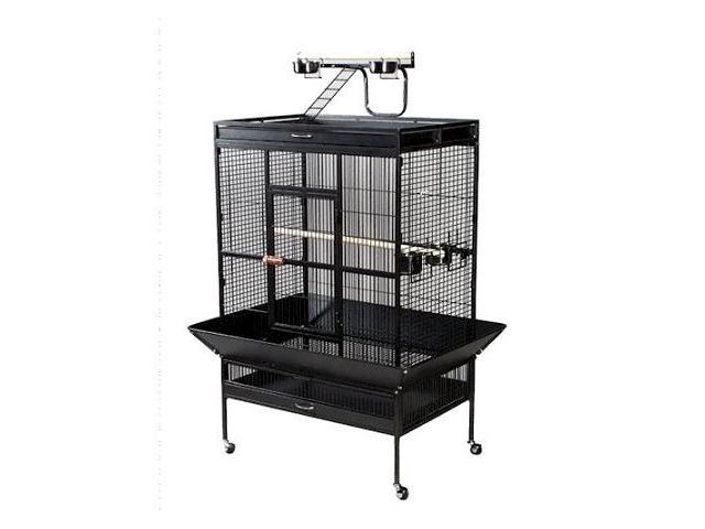Prevue Hendryx PP-3154W Select Wrought Iron Play Top Parrot Cage - Pewter
