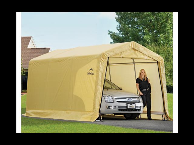 ShelterLogic 62681 10X15x8 Auto Shelter, 1-.38 in.  4-Rib Peak Style Frame, Sandstone Cover