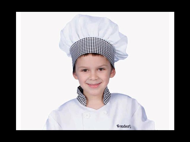 Dress Up America H214-B Black Gingham Chef Hat - Kids