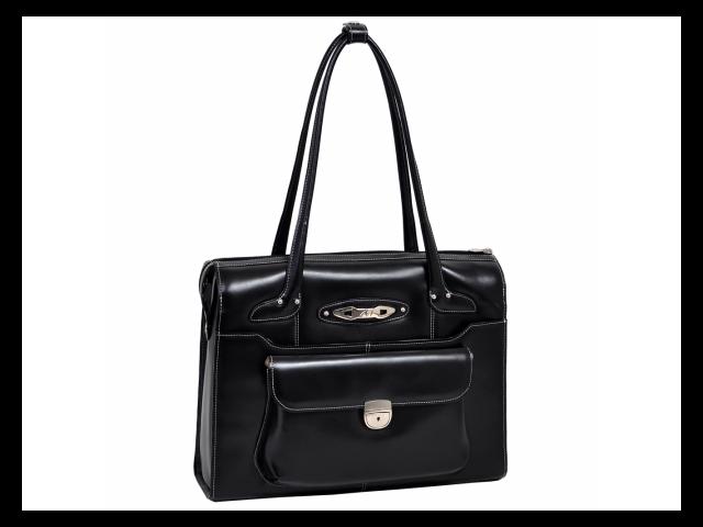 McKlien 96665 Wenonah 96665- Black Leather Ladies Briefcase