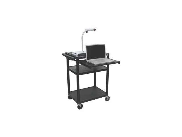 Luxor LP34LE-B Multi-Media Cart with Front Pullout Tray (Black)